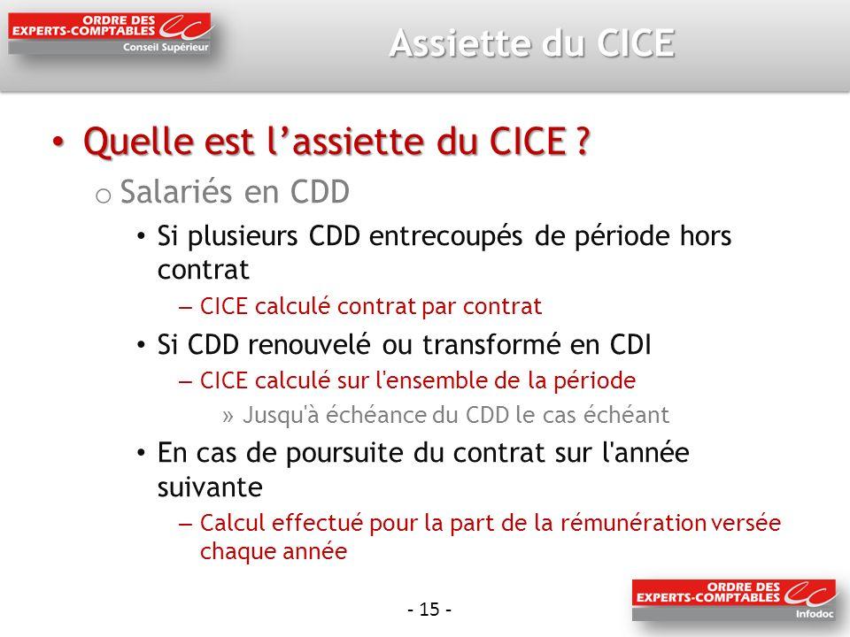 - 15 - Assiette du CICE Quelle est lassiette du CICE .