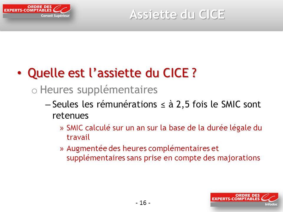 - 16 - Assiette du CICE Quelle est lassiette du CICE .