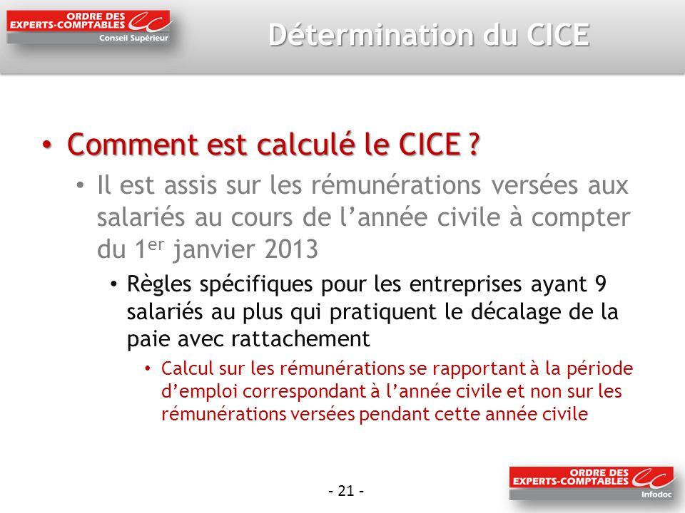 - 21 - Détermination du CICE Comment est calculé le CICE .