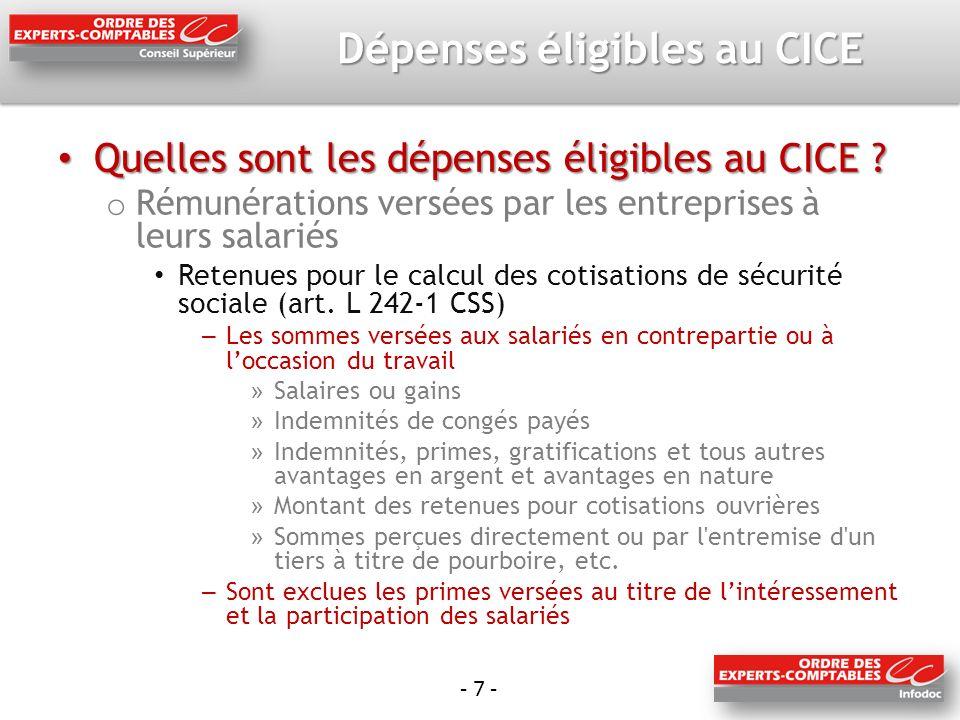 - 7 - Dépenses éligibles au CICE Quelles sont les dépenses éligibles au CICE .