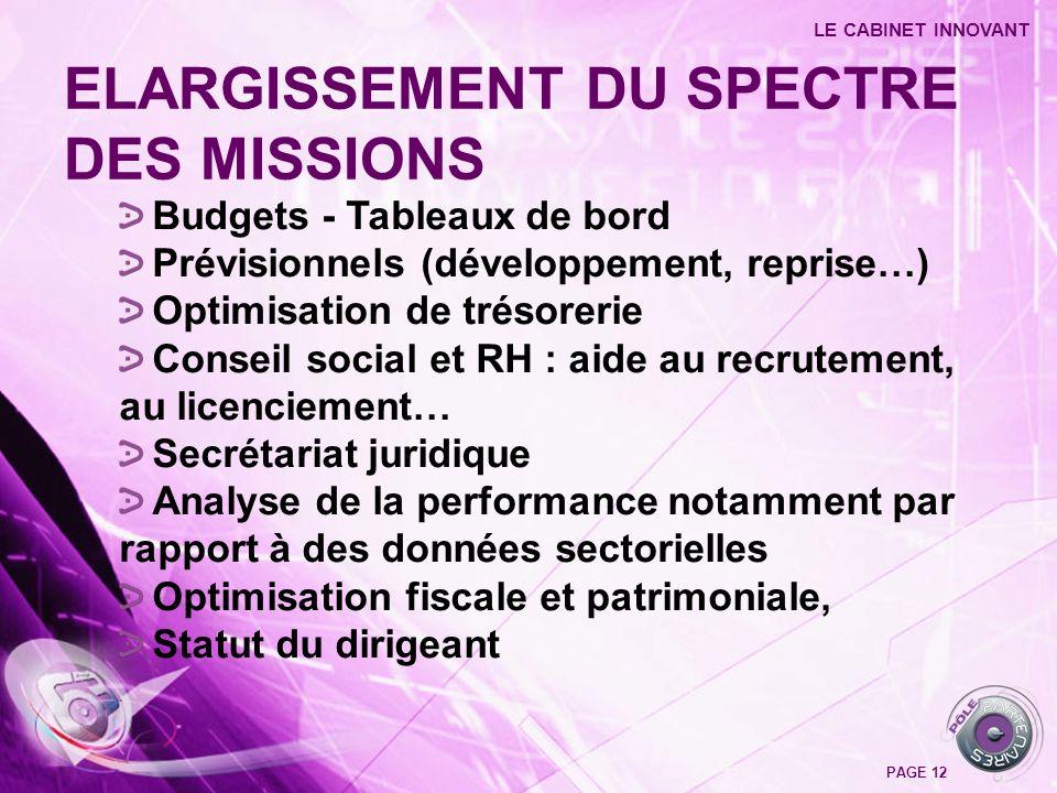 Budgets - Tableaux de bord Prévisionnels (développement, reprise…) Optimisation de trésorerie Conseil social et RH : aide au recrutement, au licenciem