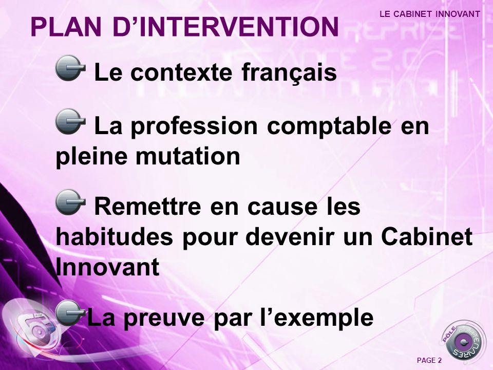 Le contexte français La profession comptable en pleine mutation Remettre en cause les habitudes pour devenir un Cabinet Innovant La preuve par lexempl