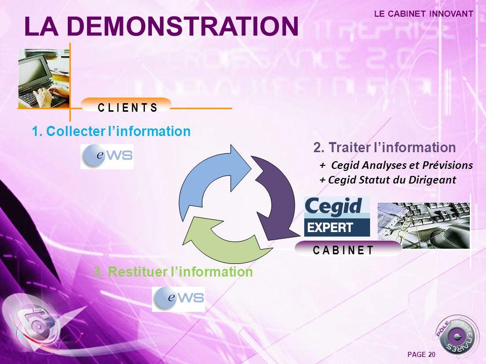 LA DEMONSTRATION LE CABINET INNOVANT PAGE 20 C L I E N T S C A B I N E T 1. Collecter linformation 2. Traiter linformation 3. Restituer linformation +