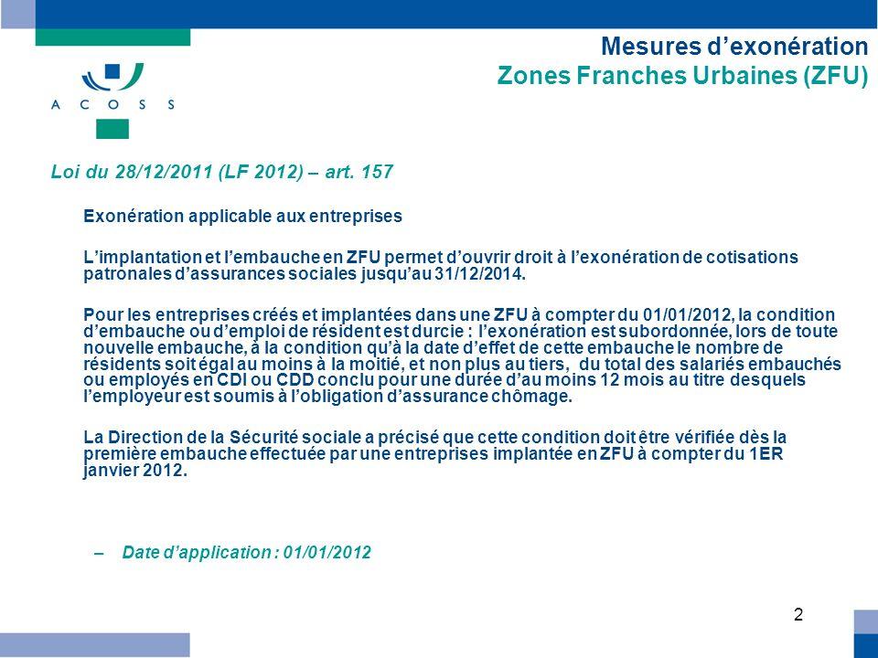 3 Mesures dexonération Zones Franches Urbaines (ZFU) Loi du 28/12/2011 (LF 2012) – art.