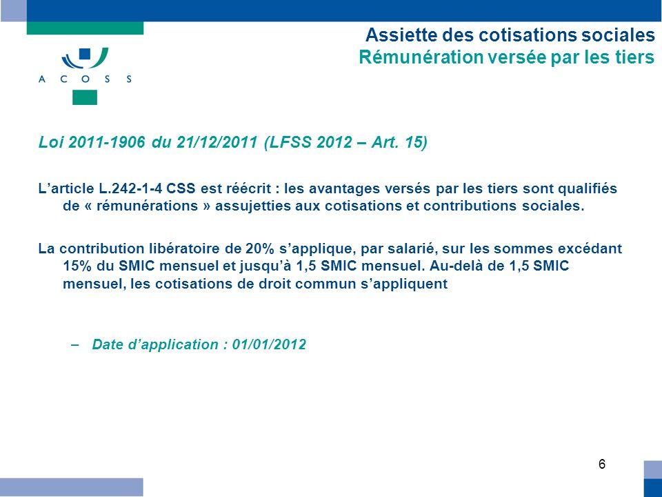 7 Mesures dexonération Réduction Fillon Loi 2011-1906 du 21/12/2011 (LFSS 2012 – Art.