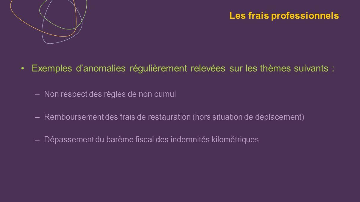 Exemples danomalies régulièrement relevées sur les thèmes suivants : –Non respect des règles de non cumul –Remboursement des frais de restauration (ho