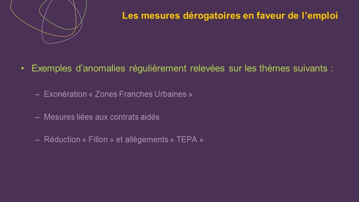 Exemples danomalies régulièrement relevées sur les thèmes suivants : –Exonération « Zones Franches Urbaines » –Mesures liées aux contrats aidés –Réduc