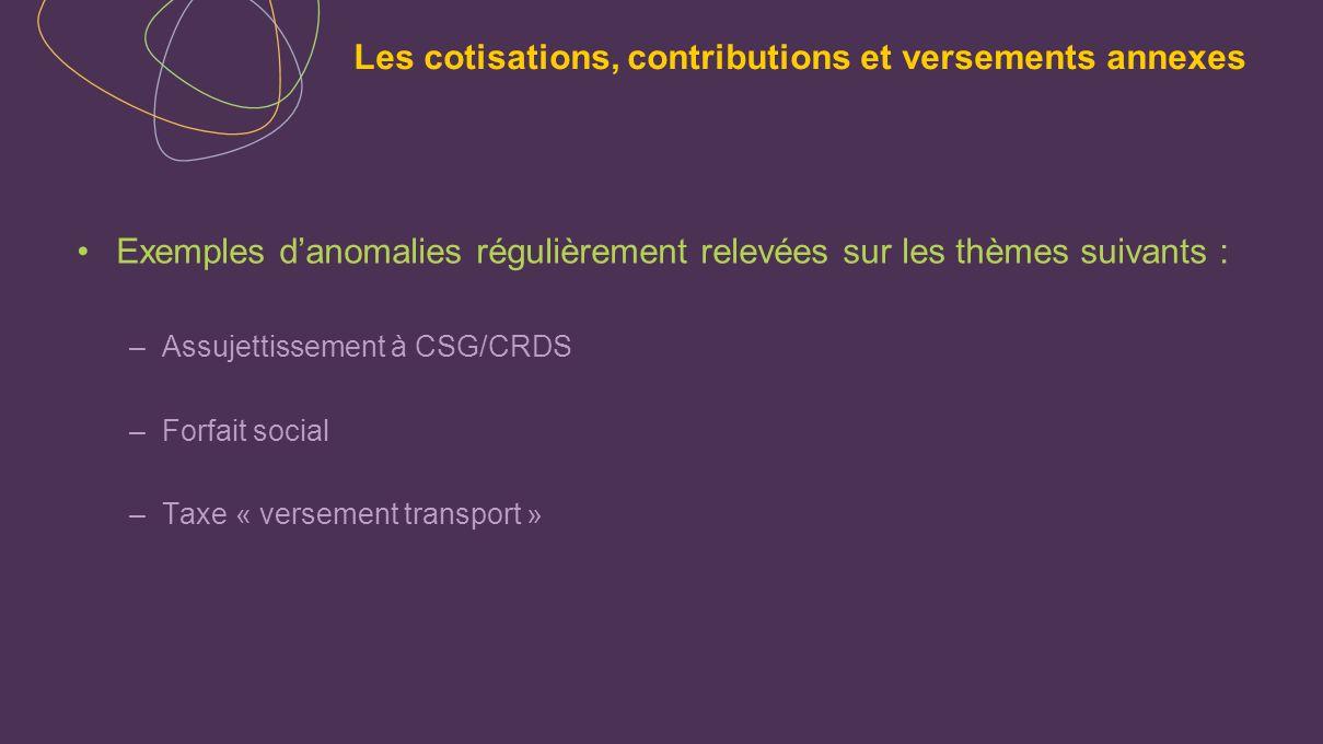 Exemples danomalies régulièrement relevées sur les thèmes suivants : –Assujettissement à CSG/CRDS –Forfait social –Taxe « versement transport »