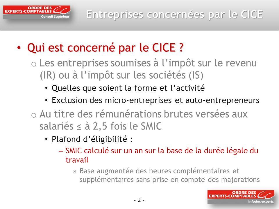 - 2 - Entreprises concernées par le CICE Qui est concerné par le CICE ? Qui est concerné par le CICE ? o Les entreprises soumises à limpôt sur le reve