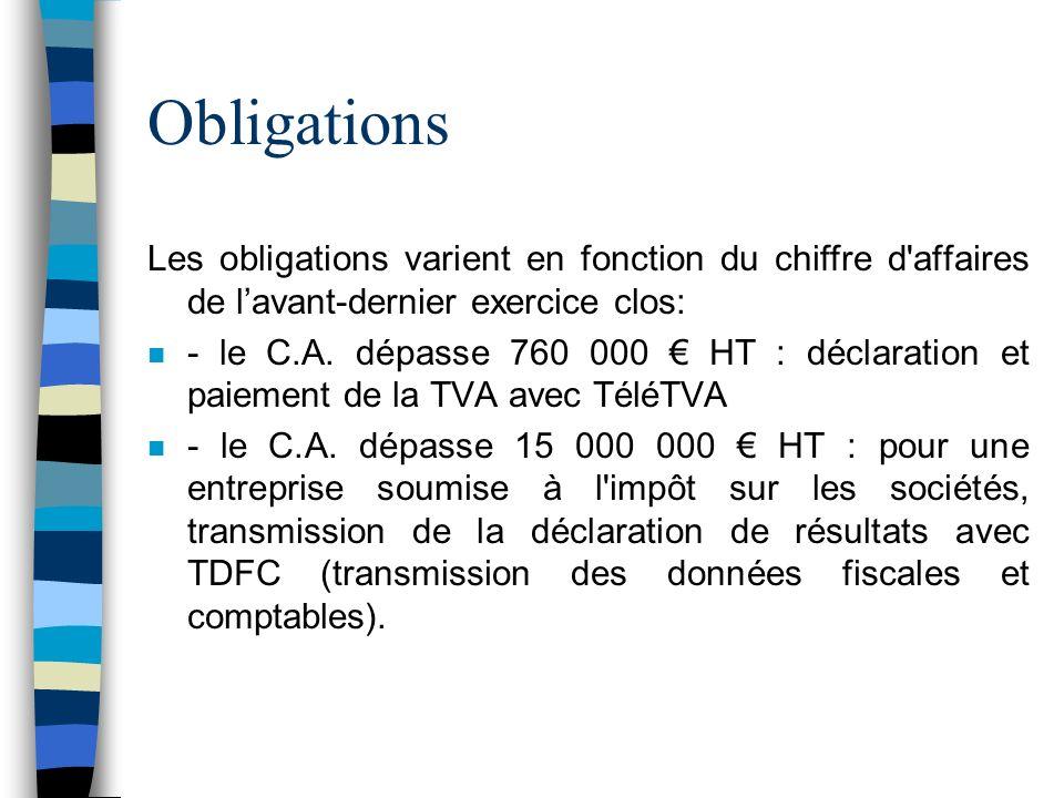 Obligations n Dautres obligations sont liées à limportance du montant de limpôt payé : n lorsque limpôt dû excède 50 000 : paiement par virement sur le compte du Trésor Public à la Banque de France pour la taxe sur les salaires, les impôts locaux