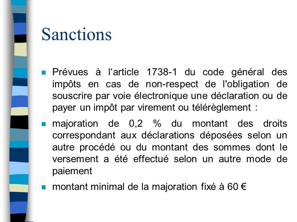 Sanctions n Prévues à larticle 1738-1 du code général des impôts en cas de non-respect de l'obligation de souscrire par voie électronique une déclarat