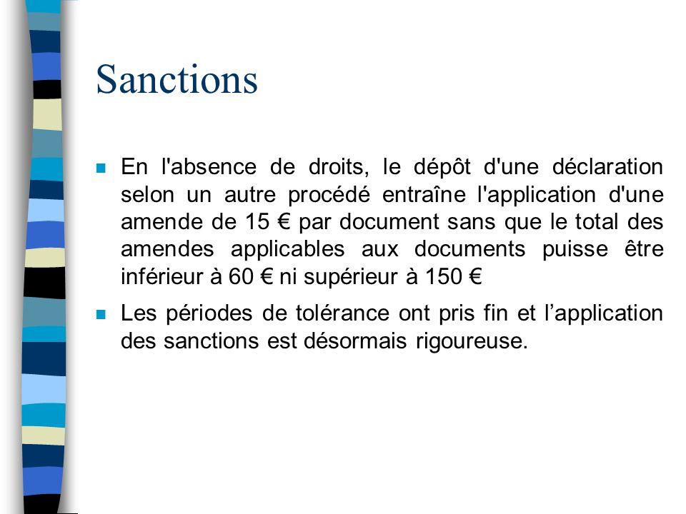 Sanctions n En l'absence de droits, le dépôt d'une déclaration selon un autre procédé entraîne l'application d'une amende de 15 par document sans que