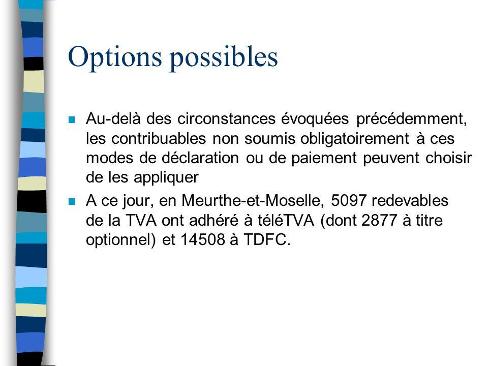 Options possibles n Au-delà des circonstances évoquées précédemment, les contribuables non soumis obligatoirement à ces modes de déclaration ou de pai