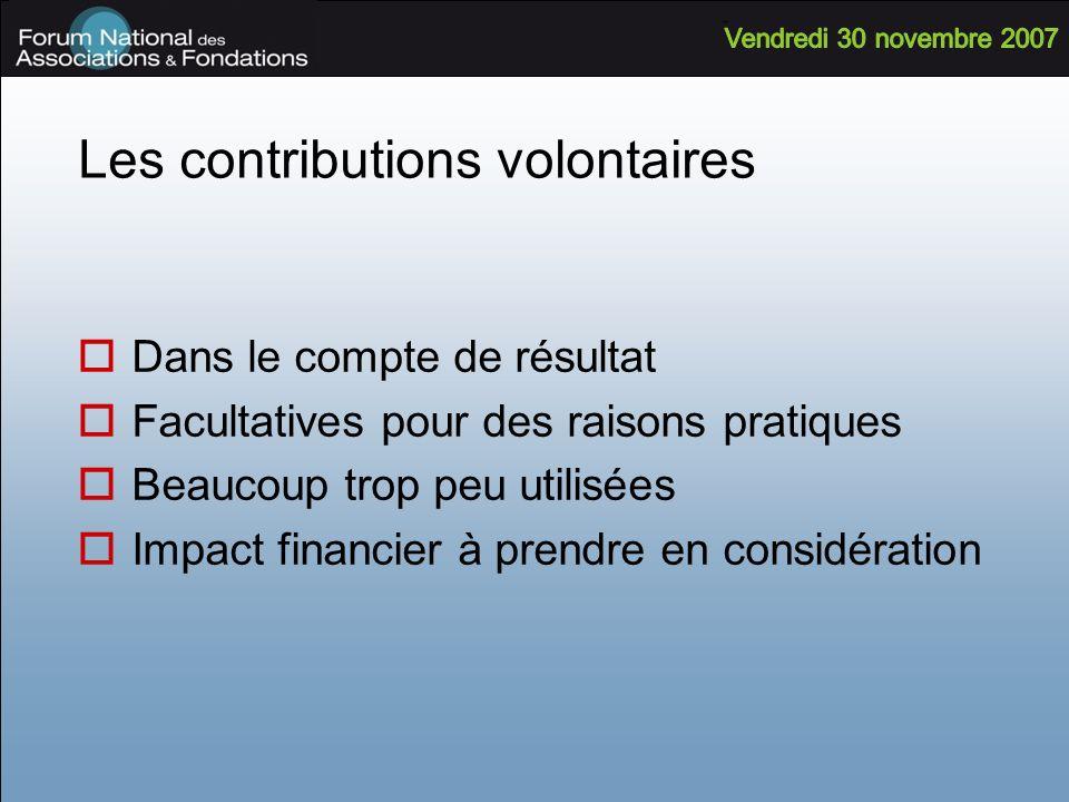 Les contributions volontaires Dans le compte de résultat Facultatives pour des raisons pratiques Beaucoup trop peu utilisées Impact financier à prendr