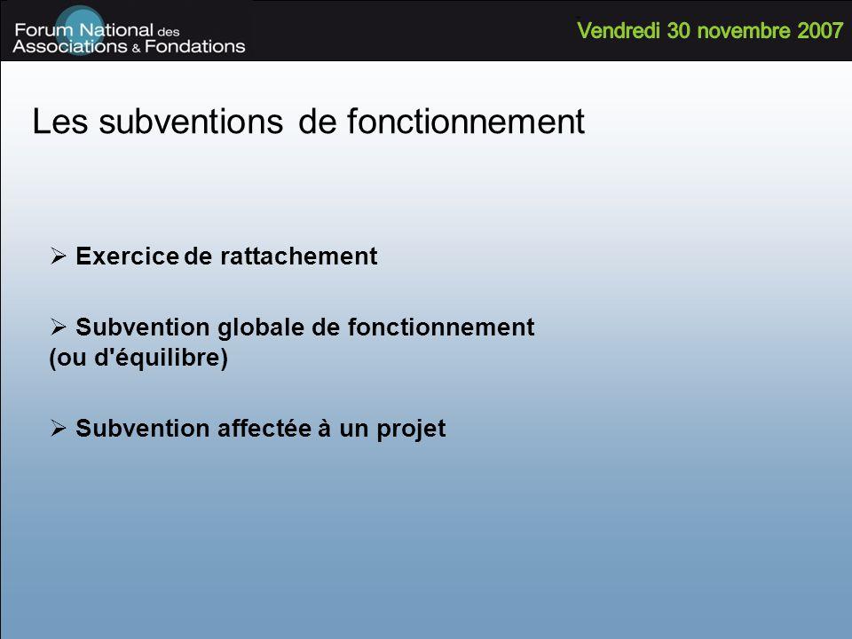 Les subventions de fonctionnement Exercice de rattachement Subvention globale de fonctionnement (ou d'équilibre) Subvention affectée à un projet