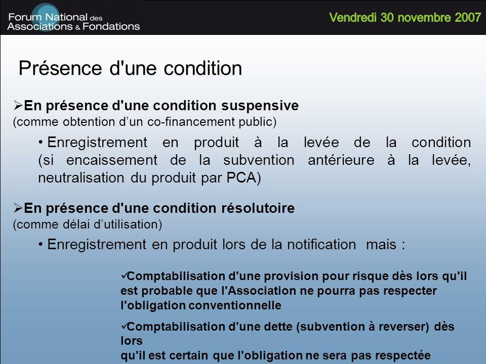 Présence d'une condition En présence d'une condition suspensive (comme obtention dun co-financement public) Enregistrement en produit à la levée de la