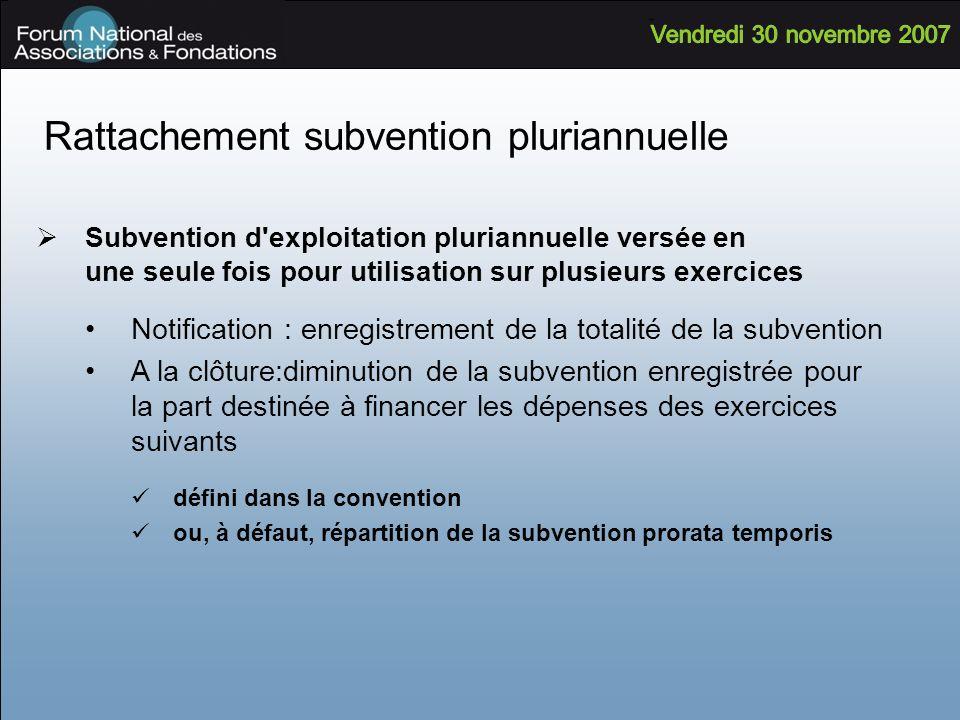 Rattachement subvention pluriannuelle Subvention d'exploitation pluriannuelle versée en une seule fois pour utilisation sur plusieurs exercices Notifi