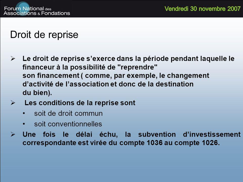 Droit de reprise Le droit de reprise sexerce dans la période pendant laquelle le financeur à la possibilité de