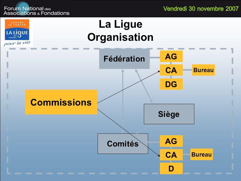 La Ligue Organisation Comités Fédération AG CA DG Bureau AG CA D Bureau Siège Commissions