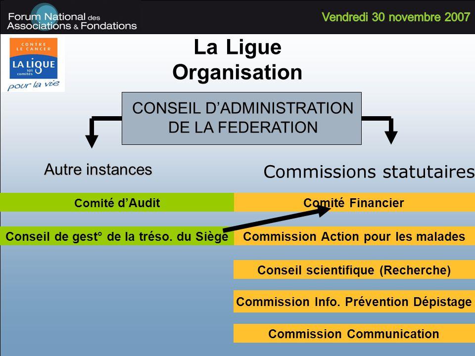 La Ligue Organisation Commissions statutaires Commission Action pour les malades Comité Financier Conseil scientifique (Recherche) Commission Info. Pr