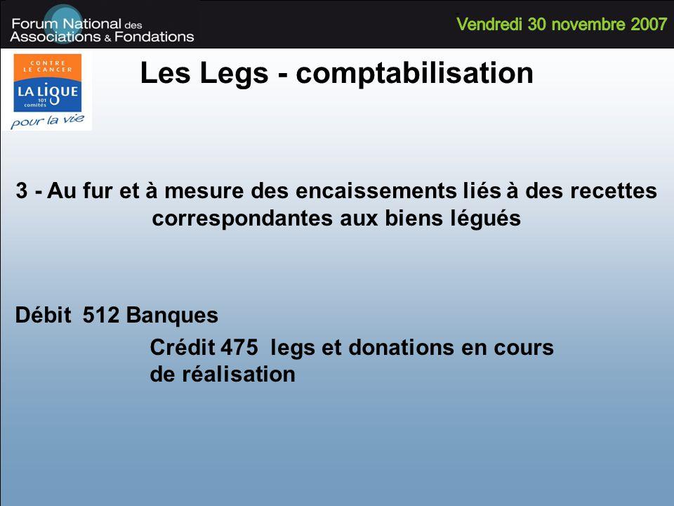 Les Legs - comptabilisation 3 - Au fur et à mesure des encaissements liés à des recettes correspondantes aux biens légués Débit 512 Banques Crédit 475