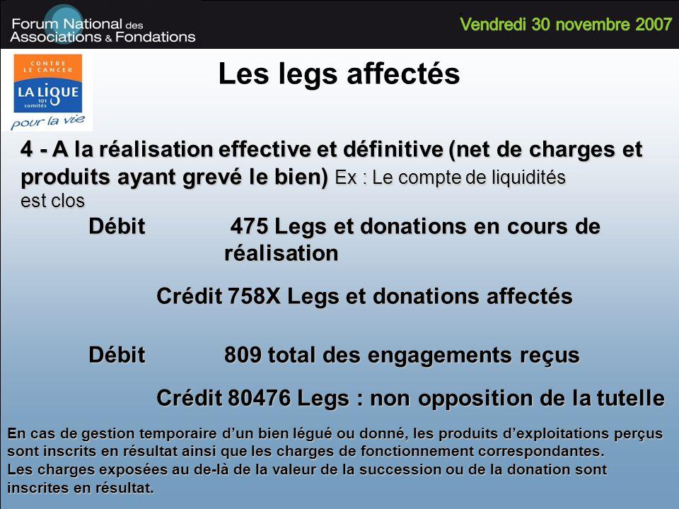 Les legs affectés 4 - A la réalisation effective et définitive (net de charges et produits ayant grevé le bien) Ex : Le compte de liquidités est clos