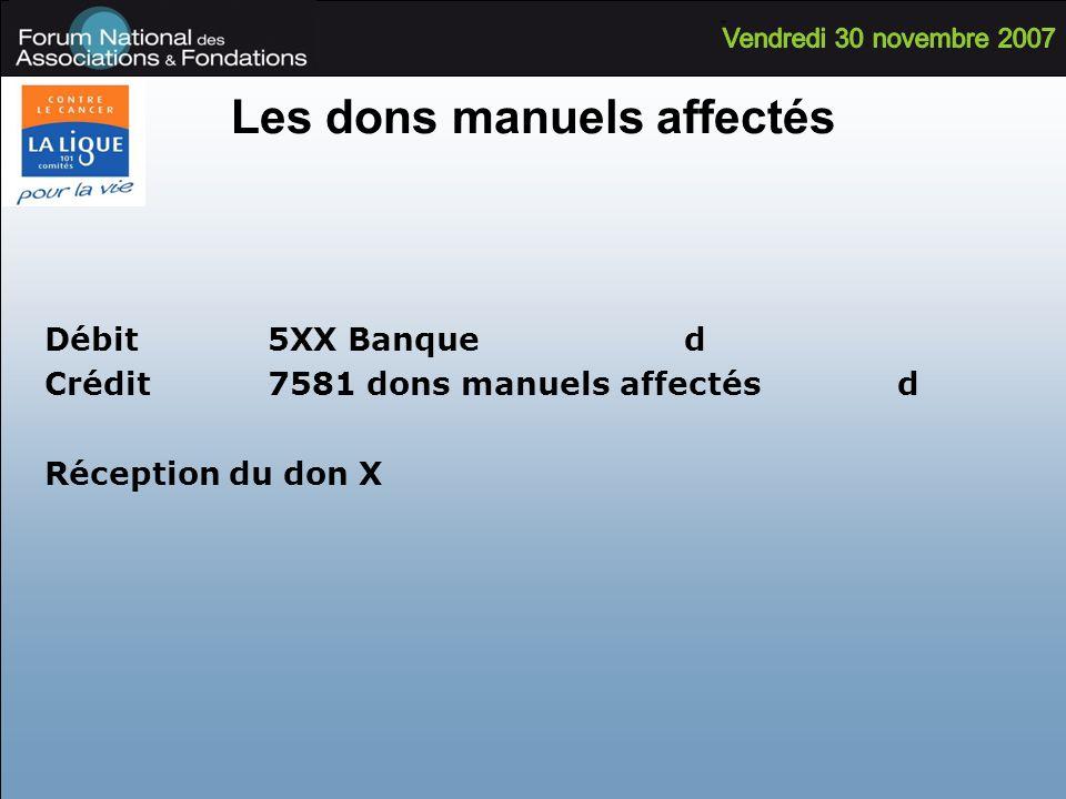 Les dons manuels affectés Débit 5XX Banqued Crédit 7581 dons manuels affectésd Réception du don X