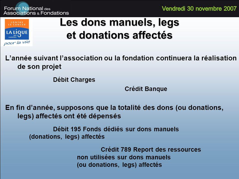 Lannée suivant lassociation ou la fondation continuera la réalisation de son projet Débit Charges Crédit Banque En fin dannée, supposons que la totali