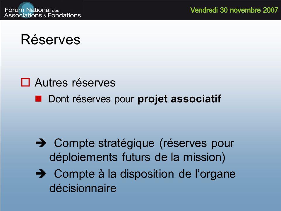 Réserves Autres réserves Dont réserves pour projet associatif Compte stratégique (réserves pour déploiements futurs de la mission) Compte à la disposi
