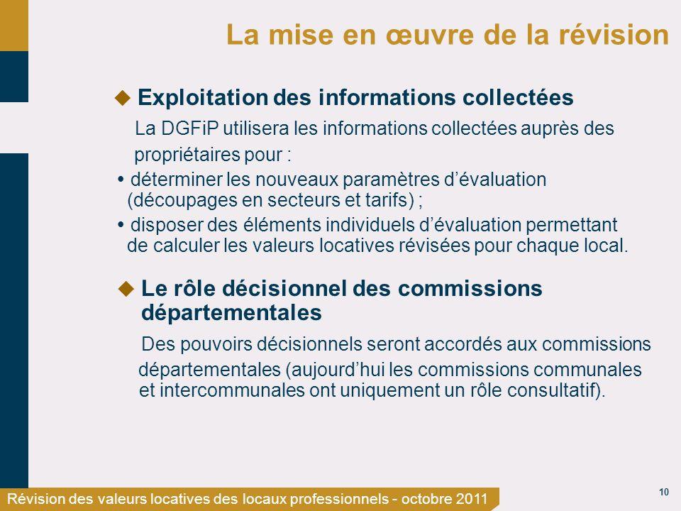 10 Révision des valeurs locatives des locaux professionnels - octobre 2011 La mise en œuvre de la révision Exploitation des informations collectées La