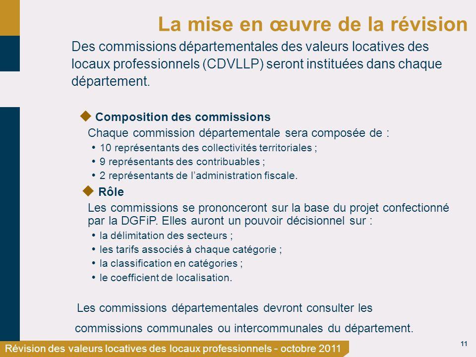 11 Révision des valeurs locatives des locaux professionnels - octobre 2011 La mise en œuvre de la révision Des commissions départementales des valeurs locatives des locaux professionnels (CDVLLP) seront instituées dans chaque département.
