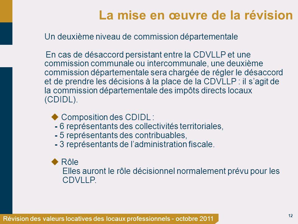 12 Révision des valeurs locatives des locaux professionnels - octobre 2011 La mise en œuvre de la révision Un deuxième niveau de commission départemen