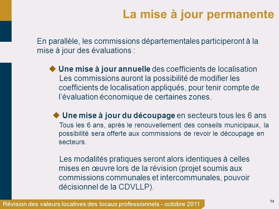 14 Révision des valeurs locatives des locaux professionnels - octobre 2011 La mise à jour permanente En parallèle, les commissions départementales par