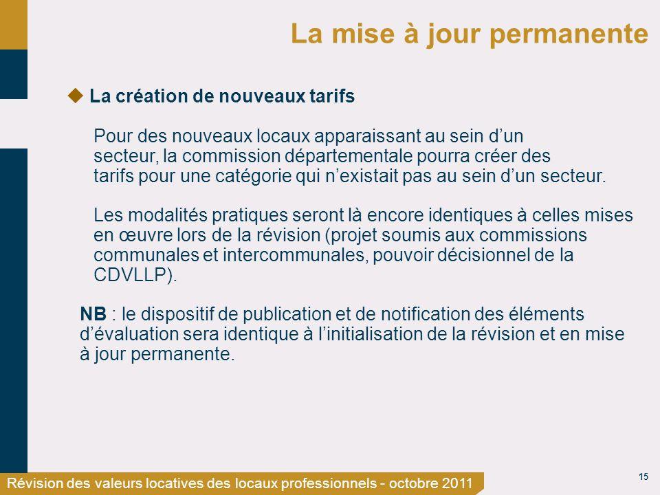 15 Révision des valeurs locatives des locaux professionnels - octobre 2011 La mise à jour permanente La création de nouveaux tarifs Pour des nouveaux
