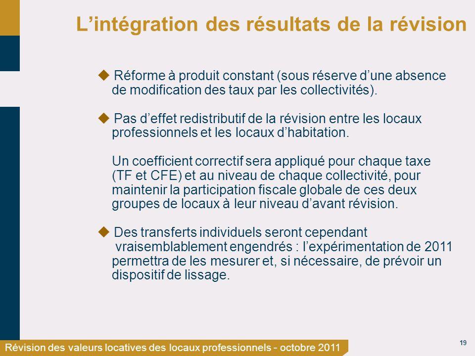 19 Révision des valeurs locatives des locaux professionnels - octobre 2011 Lintégration des résultats de la révision Réforme à produit constant (sous réserve dune absence de modification des taux par les collectivités).