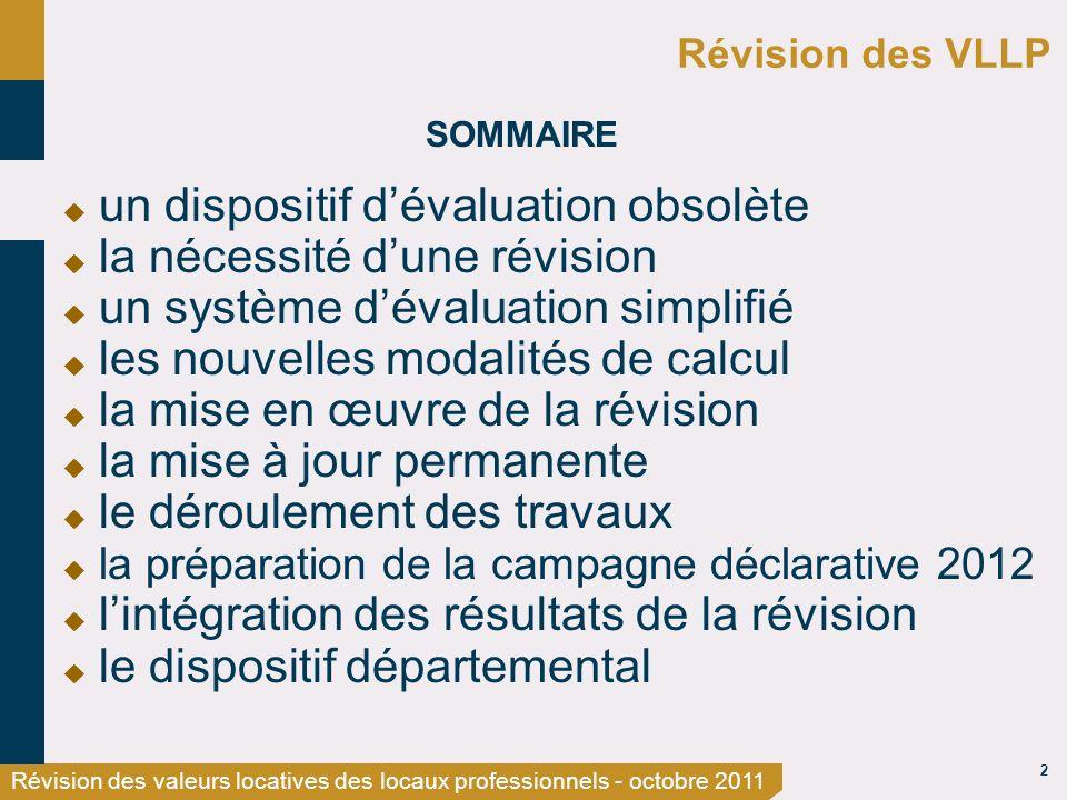 2 Révision des valeurs locatives des locaux professionnels - octobre 2011 Révision des VLLP SOMMAIRE un dispositif dévaluation obsolète la nécessité d