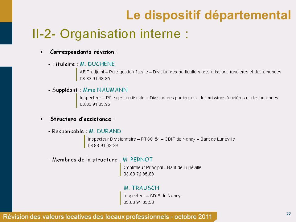 22 Révision des valeurs locatives des locaux professionnels - octobre 2011 Le dispositif départemental