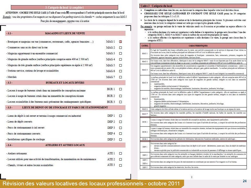 24 Révision des valeurs locatives des locaux professionnels - octobre 2011 x