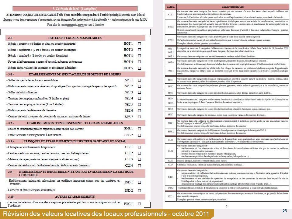 25 Révision des valeurs locatives des locaux professionnels - octobre 2011