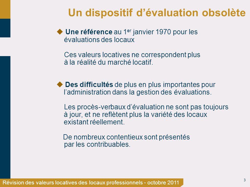 3 Révision des valeurs locatives des locaux professionnels - octobre 2011 Un dispositif dévaluation obsolète Une référence au 1 er janvier 1970 pour l