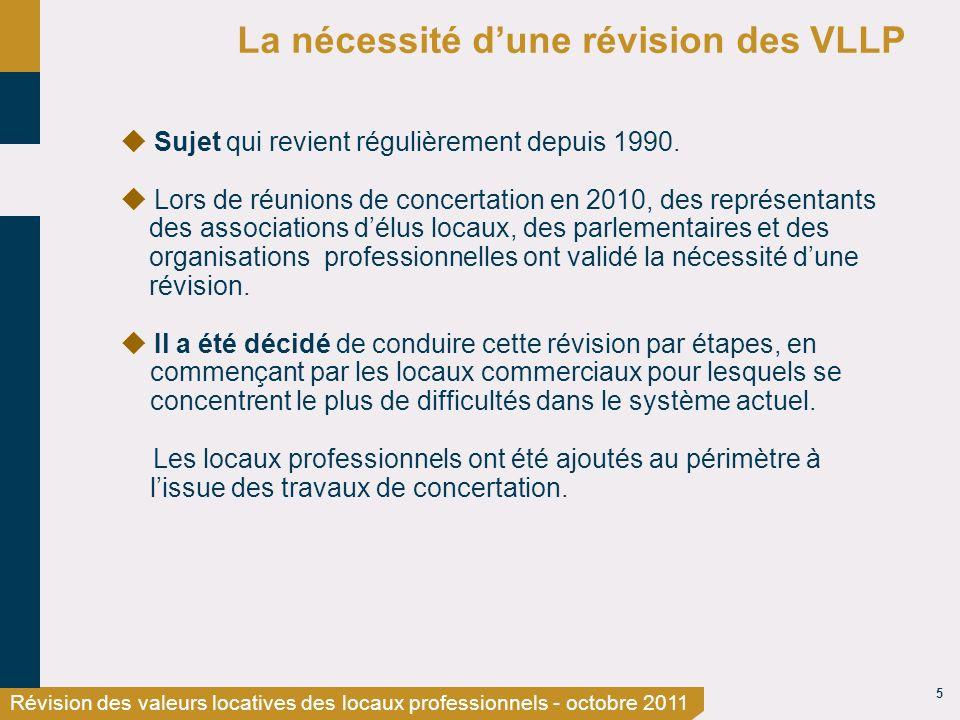 5 Révision des valeurs locatives des locaux professionnels - octobre 2011 La nécessité dune révision des VLLP Sujet qui revient régulièrement depuis 1990.
