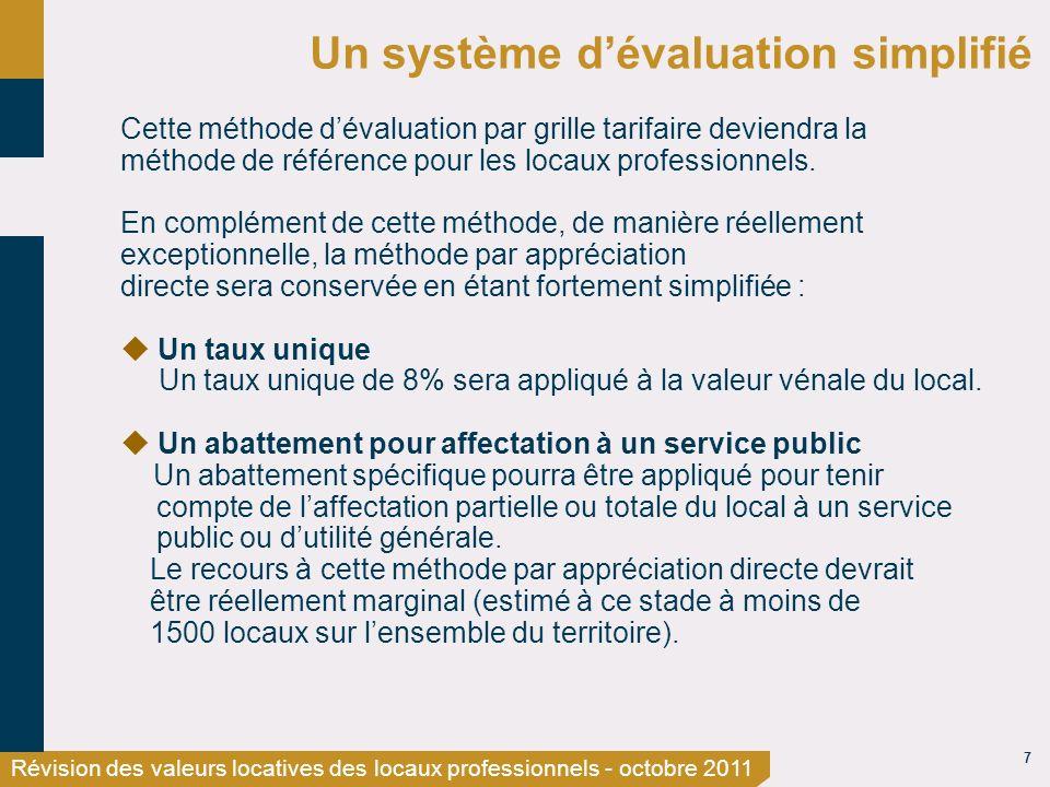 7 Révision des valeurs locatives des locaux professionnels - octobre 2011 Un système dévaluation simplifié Cette méthode dévaluation par grille tarifaire deviendra la méthode de référence pour les locaux professionnels.