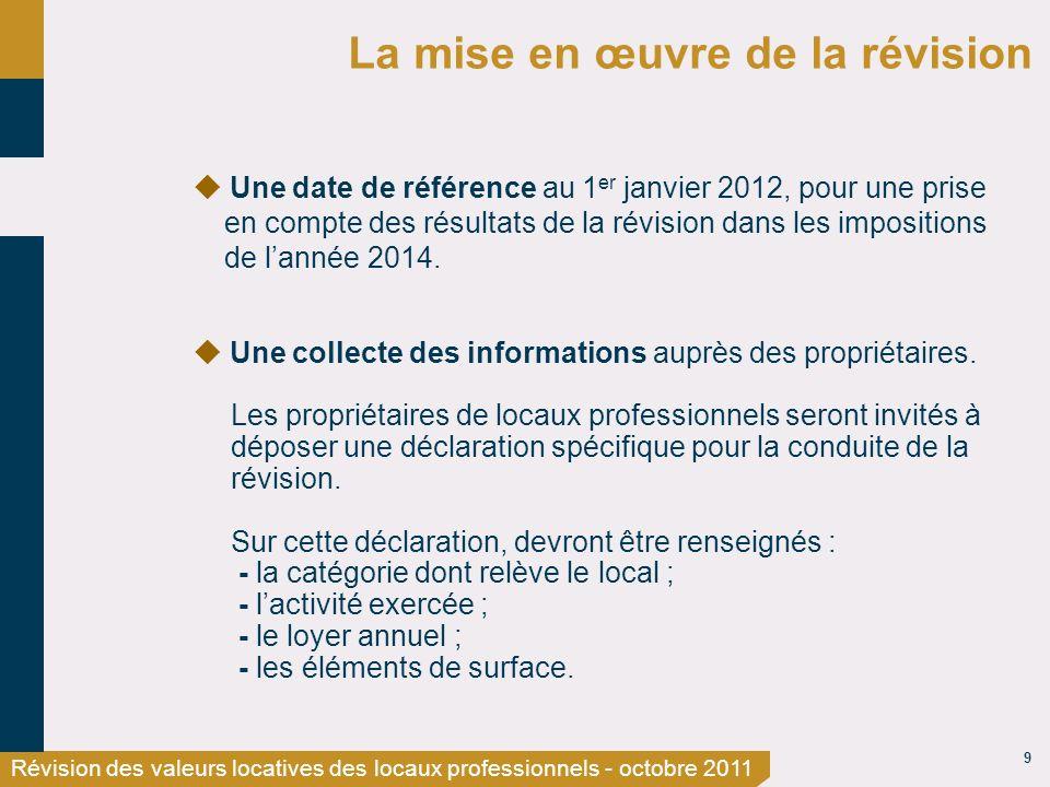 9 Révision des valeurs locatives des locaux professionnels - octobre 2011 La mise en œuvre de la révision Une date de référence au 1 er janvier 2012, pour une prise en compte des résultats de la révision dans les impositions de lannée 2014.