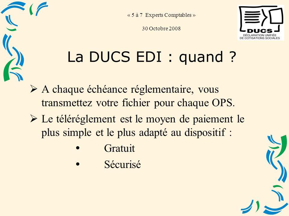 « 5 à 7 Experts Comptables » 30 Octobre 2008 A chaque échéance réglementaire, vous transmettez votre fichier pour chaque OPS.