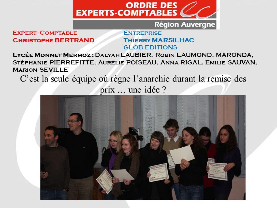 Expert- ComptableEntreprise Christophe BERTRANDThierry MARSILHAC GLOB EDITIONS Lycée Monnet Mermoz : Dalyah LAUBIER, Robin LAUMOND, MARONDA, Stéphanie