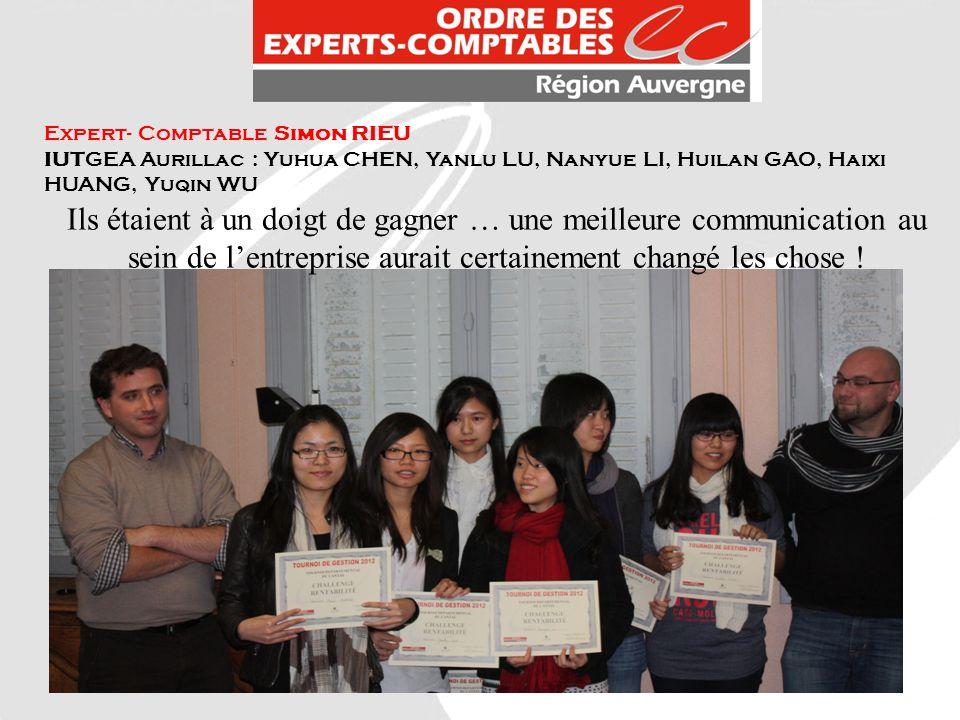 Expert- Comptable Simon RIEU IUTGEA Aurillac : Yuhua CHEN, Yanlu LU, Nanyue LI, Huilan GAO, Haixi HUANG, Yuqin WU Ils étaient à un doigt de gagner … u