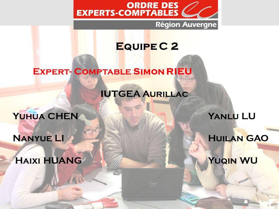 Equipe C 2 Expert- Comptable Simon RIEU IUTGEA Aurillac Yuhua CHENYanlu LU Nanyue LIHuilan GAO Haixi HUANGYuqin WU