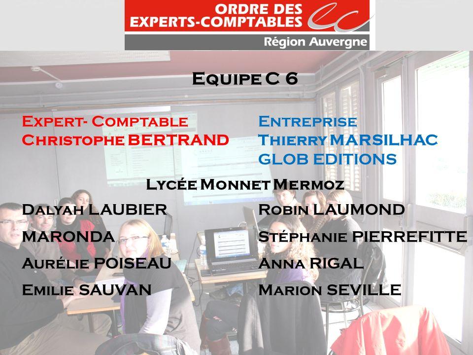 Equipe C 6 Expert- ComptableEntreprise Christophe BERTRANDThierry MARSILHAC GLOB EDITIONS Lycée Monnet Mermoz Dalyah LAUBIERRobin LAUMOND MARONDA Stép