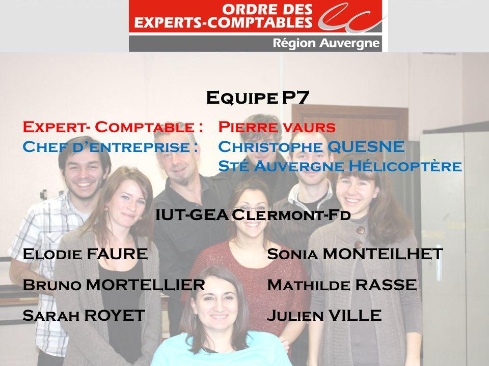 Equipe P7 Expert- Comptable : Pierre vaurs Chef dentreprise : Christophe QUESNE Sté Auvergne Hélicoptère IUT-GEA Clermont-Fd Elodie FAURE Sonia MONTEI