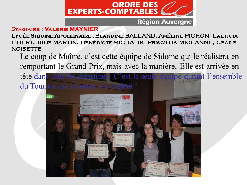 Stagiaire : Valérie MAYNIER Lycée Sidoine Apollinaire : Blandine BALLAND, Améline PICHON, Laëticia LIBERT, Julie MARTIN, Bénédicte MICHALIK, Priscilli